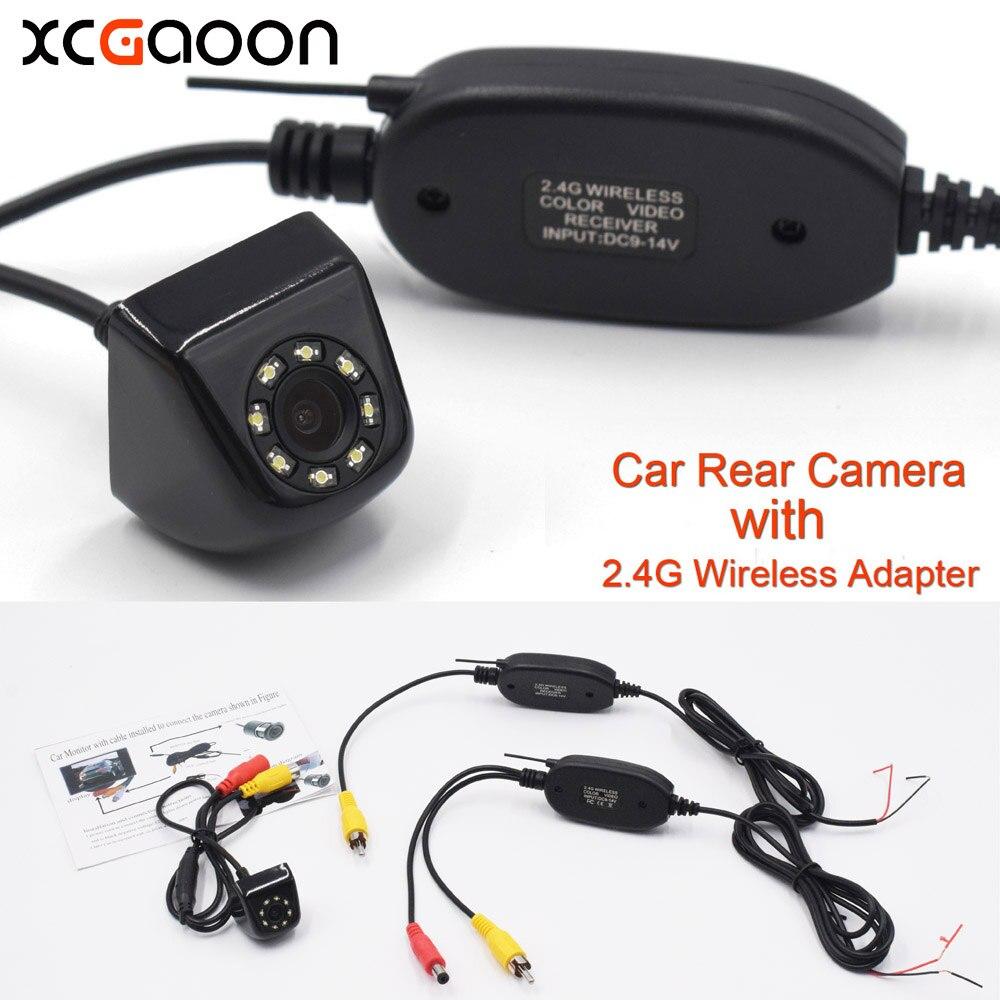 XCGaoon Classique CCD HD Vue Arrière de Voiture Caméra Grand Angle Étanche 8 LED avec 2.4g Sans Fil Émetteur Récepteur Module adaptateur