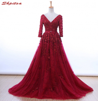 Red Long Sleeve Lace Prom Dresses 2017 Tulle Beaded Graduation Party Evening Dress Gowns Vestido Formatura