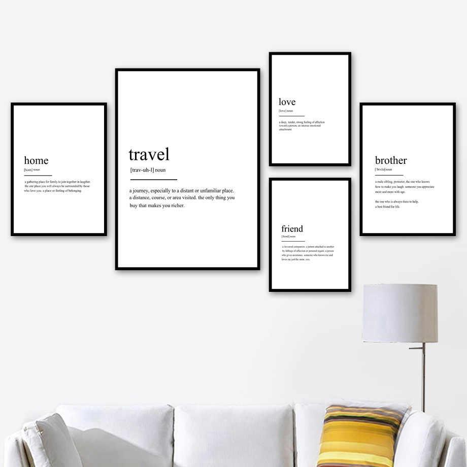 Домашний друг, путешествие, любовь, определение, цитаты, скандинавские плакаты и принты, настенные художественные картины на холсте, настенные картины для декора гостиной