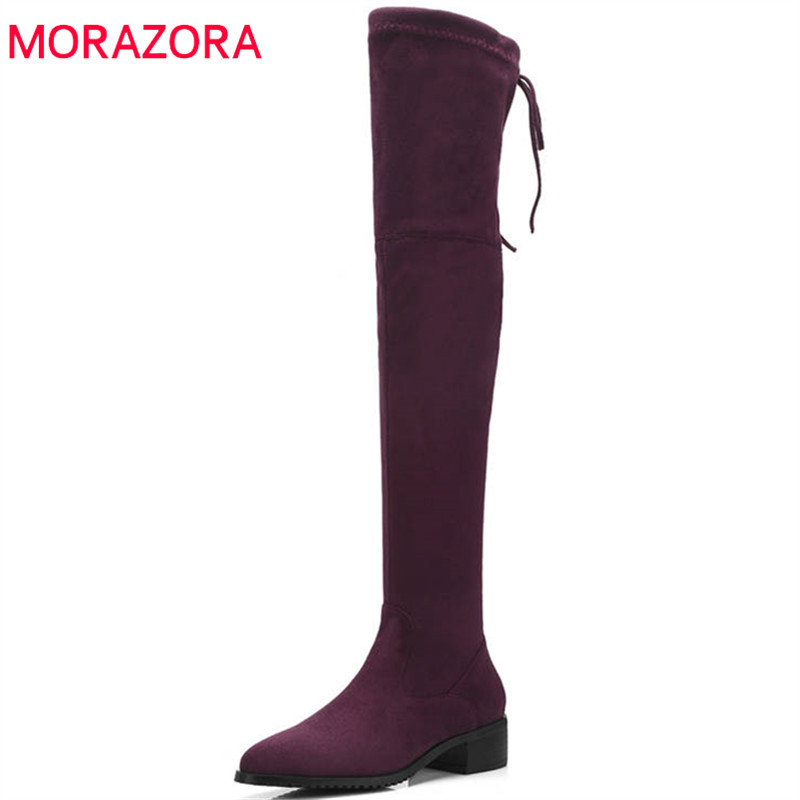 MORAZORA 2018 newest flock thigh high over the knee boots women pointed toe keep warm autumn winter boots dress shoes woman