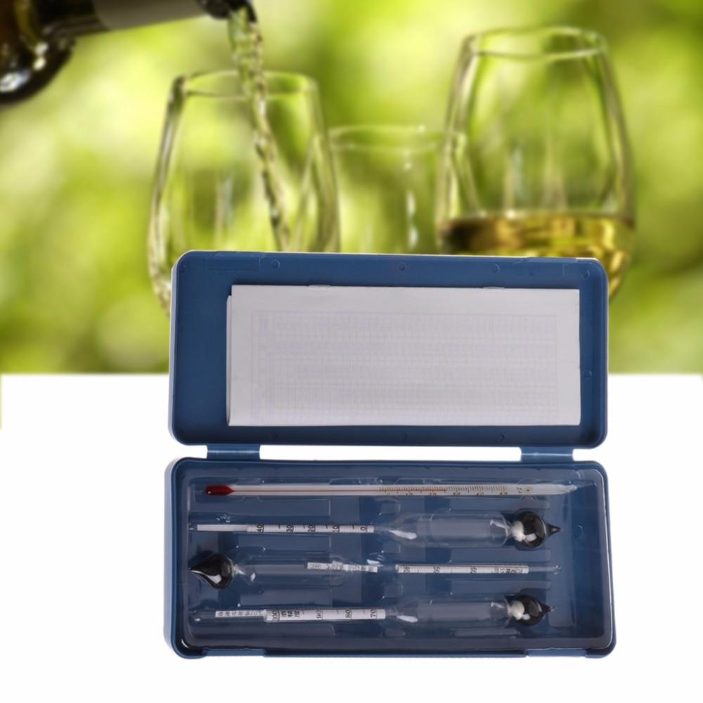 3 Pcs 2018 Nouveau Densimètre Alcoomètre Tester Set Concentration D'alcool Mètre + Thermomètre 0-100%