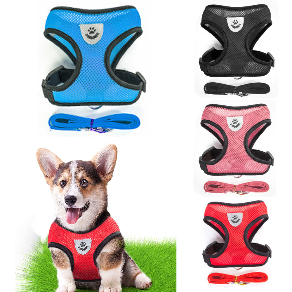 BIBSS Breathable Small Dog Pet Harness And Leash Set Vest