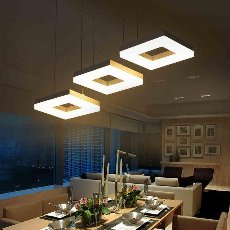 Modern led pendant lights for dining room living room Acrylic Aluminum Rectangle Design led pendant lamp fixtures AC 85-265V