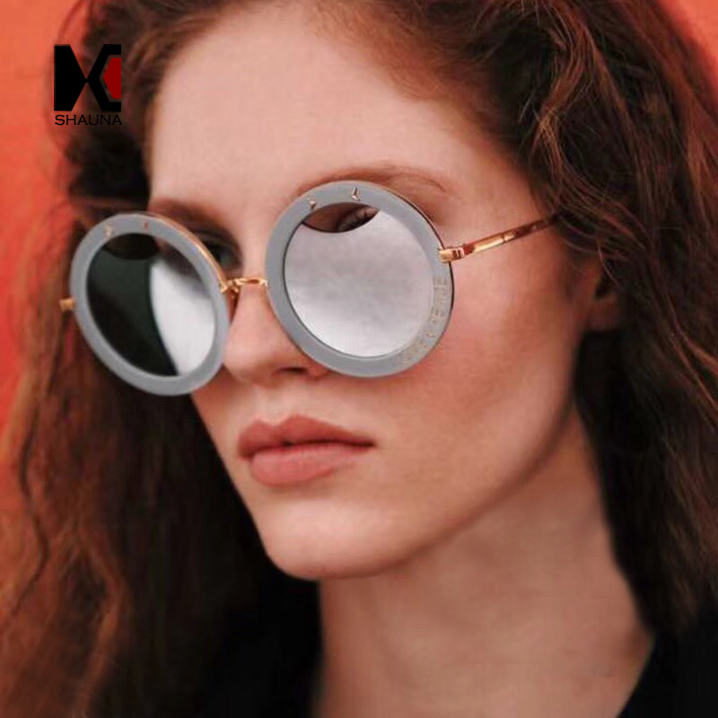 SHAUNA Love & Peace Letters Oversize Women Round Sunglasses Nail Decoration Fashion Ladies Hollow Out Mirror Lens Shades UV400
