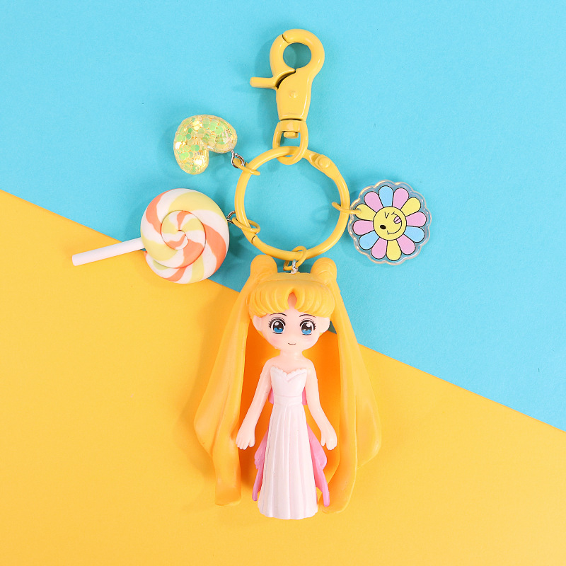 2019 gifts for women cute keychain Water moon beautiful girl warrior lovely 3D doll key chain DIY accessories cartoon
