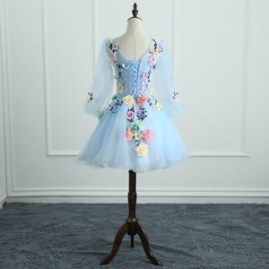 Image 3 - Quinceanera vestidos mrs win manga longa doce flores vestido de baile rendas elegante curto colorido vestido de baile festa formal crescimentos