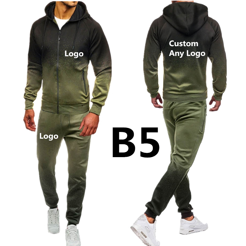 B5 For Men's Gradient Printed Clothing Set Spring Autumn Outdoor Sport Suits  Ride Pants Mens Hoodies Jacket Brand Car Hoodies