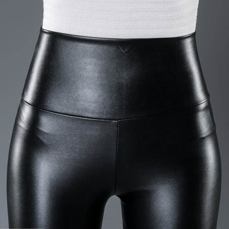 10 Colors Winter Leggings For Women High Waist Black Leather Pencil Pants Autumn Plus Size Skinny Slim Shiny Fleece Trousers