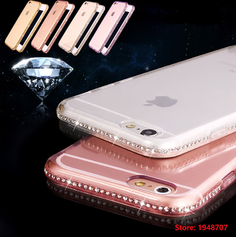 Soft TPU Bling diamond Frame Rhinestone Case Crystal Transparent Shell Bag Phone Cover For iPhone iphoe 5 5s SE 5SE 6 6s Plus ...