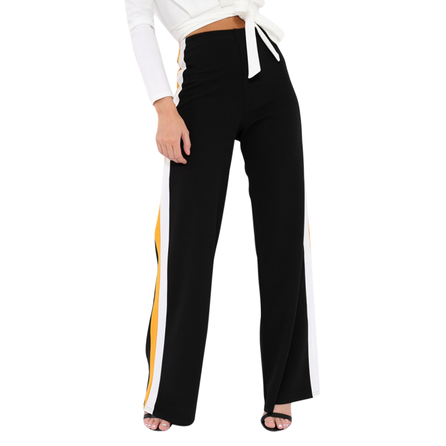 Women Fashion High Waist Side Stripe Patchwork Trousers Ladies Casual Contrast Colored Splicing Long Wide Leg Pants Stretch Le