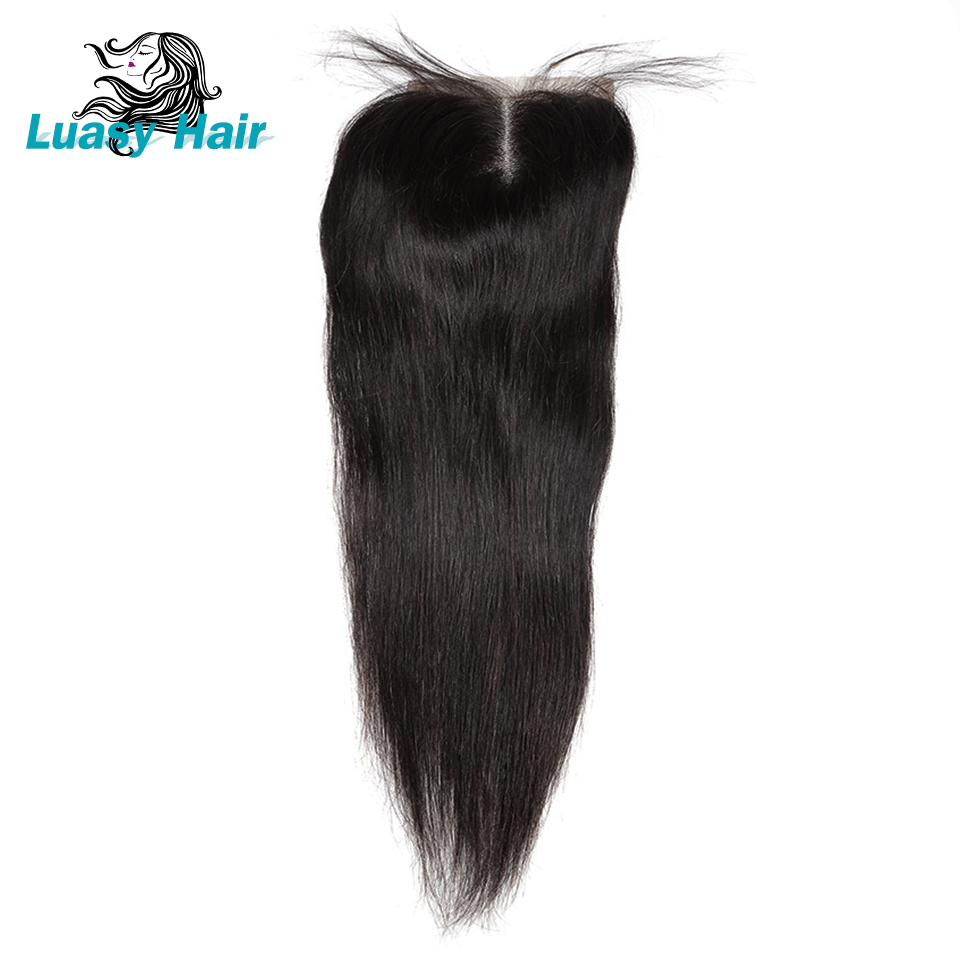 Luasy Brazilian Straight Hair Lace Closure With Baby Hair Natural Color 100 Remy Human Hair 4