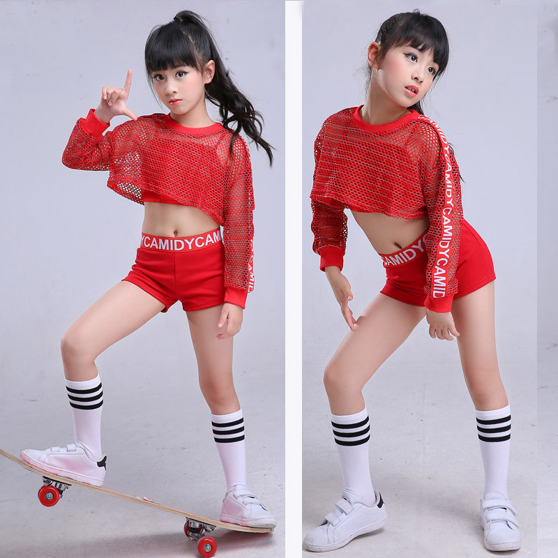 Red Kid girl  jazz hip hop dance costume netted children street belly dancing costume clothing ballroom stage performance shirt