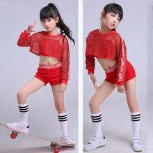 Rojo niña jazz hip hop danza traje netted calle niños traje de danza del  vientre Ropa de baile etapa rendimiento ece570cb2b6