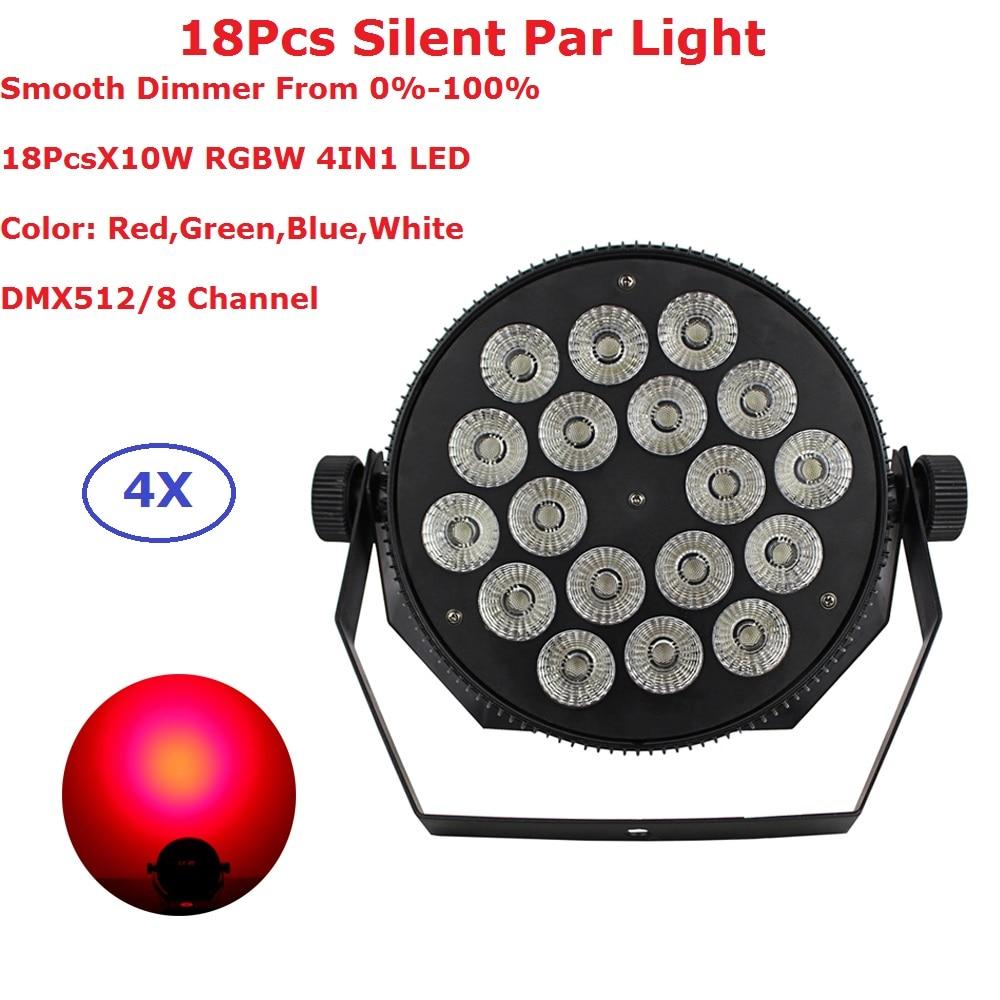 Здесь продается   4Pcs/Lot Dj Lighting Projector 18X10W RGBW 4IN1 Flat LED Par Lights DMX512 Control Good For Party Wedding Disco Nightclubs  Свет и освещение