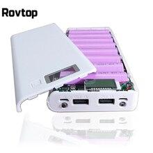 Rovtop ホット販売 5 5v デュアル usb 8*18650 パワーバンクバッテリーボックス携帯電話充電器 diy シェルケース iphone6 プラス S6 ため xiaomi