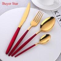 High Grade Flatware Set Gold Polish Black Handle Stainless Steel Food Silverware Dinnerware Utensil Kitchen Dining Cutlery Set