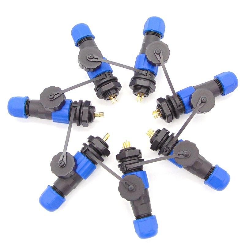 Conector impermeável sp1310 2 3 4 5 6 conectores de fio de alimentação 7pin conectores de cabo ip68 sp13 13mm