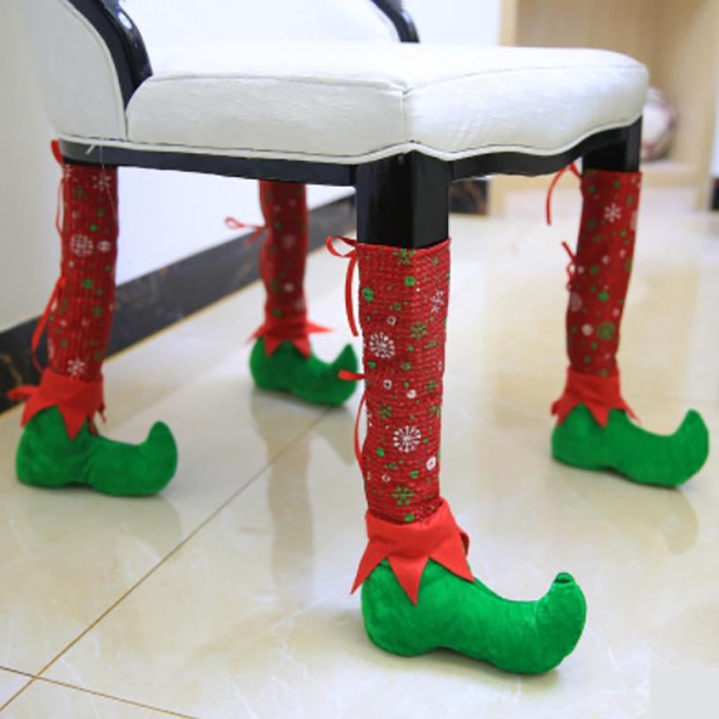Christmas Decorations Home cloth Chair Leg Cover Christmas Restaurant Bars Chairs Feet Sets Of Stools 2O1024
