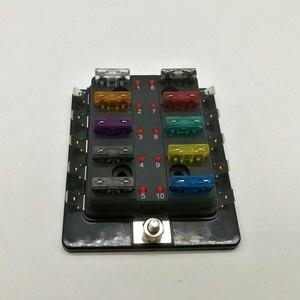 Image 5 - 10 Way Circuit Blade Fuse Box Block Holder Met LED Waarschuwing Licht Kit Voor Auto Van Boot Marine Auto Zekering houder