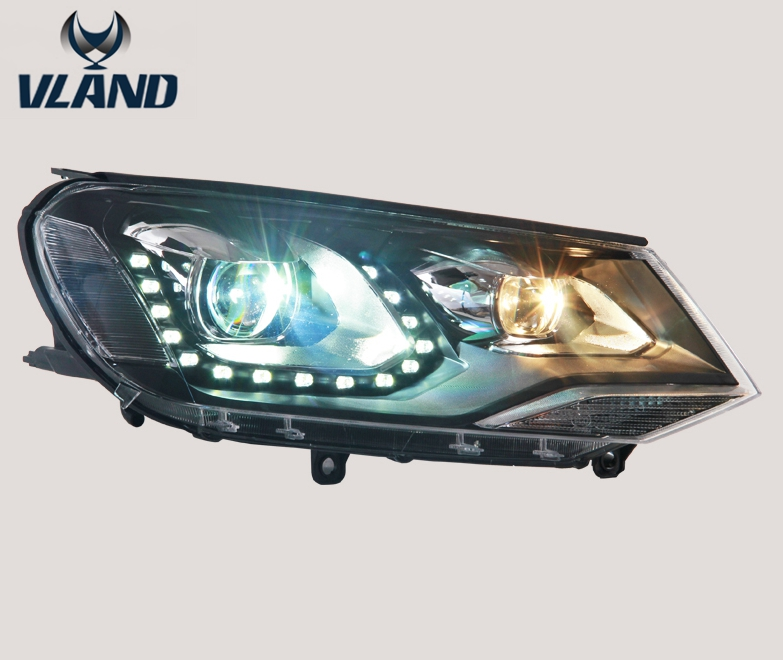 VLAND factory for Car head lamp for Touareg LED Headlight 2011 2012 2013 2014 2015 Head light with DRL Bi-Xenon Len Xenon HID free shipping for vland factory for great wall h6 led headlight 2011 2013 hid bi xenon headlamp with led drl plug and play