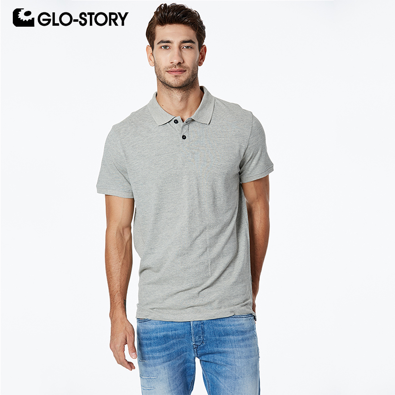 GLO-STORY Shipped From European Men's 2019 Basic Casual Solid Knitted Cotton   Polo   Shirt Male   Polo   Short Sleeve Shirt MPO-7130