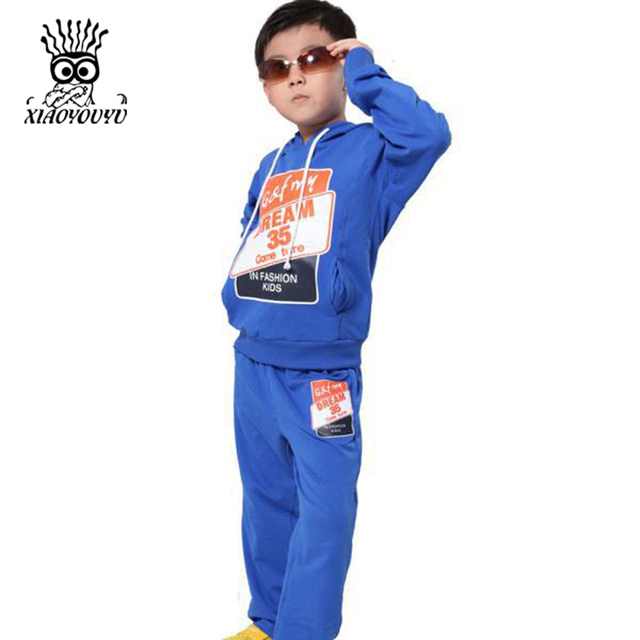 2c4c8f48a01 XIAOYOUYU 2016 Spring New Children Casual Boy Active Sets Size 130-165cm  Sports Hoodies   Pants Print Design Kids Clothing Suits
