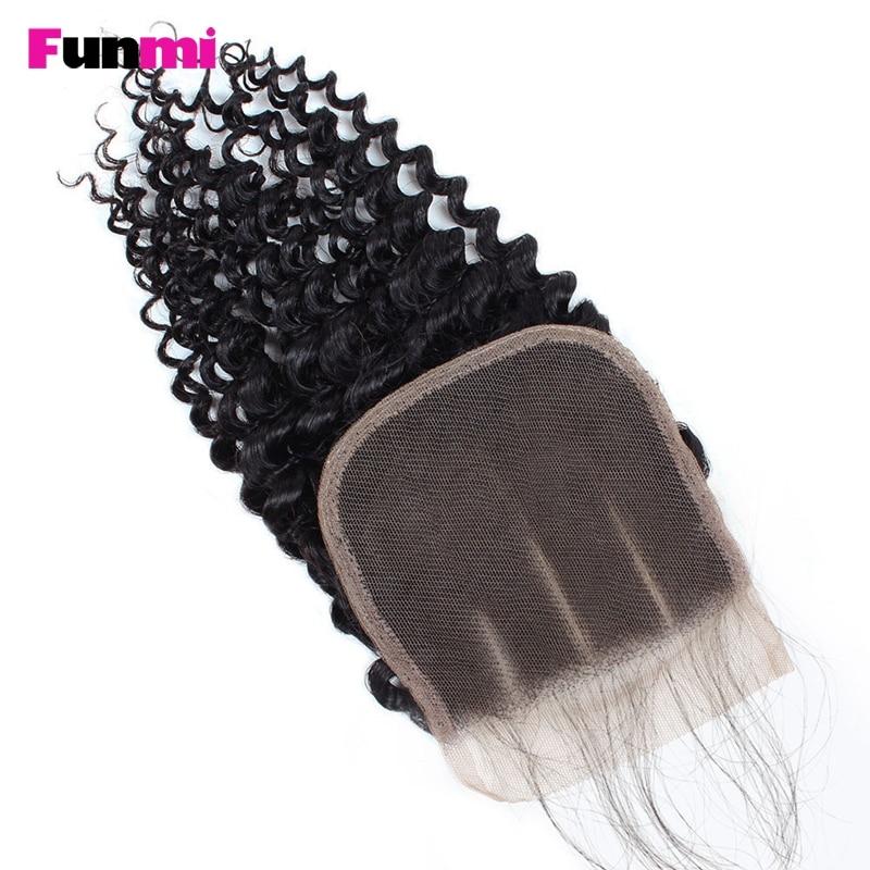 Funmi Raw Indian Kinky Curly Bundles with Closure 4 Paquetes con - Equipos para peluquerías - foto 3