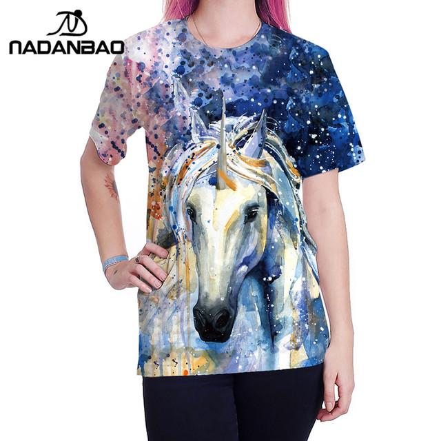 0f95b054 Animal Horse 3D Print Oil Color Tshirt Hiphop Lnk Splash T-Shirt Harajuku
