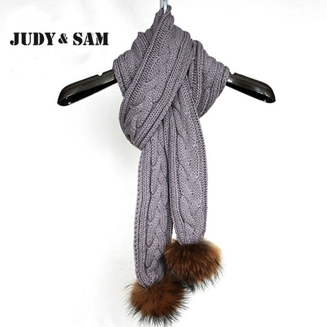 Light Grey Beige Knitted Winter Scarf For 2015 Winter Warm Quality Real Raccoon Fur Pom Pom Fashion Design Brand Scarfs Women