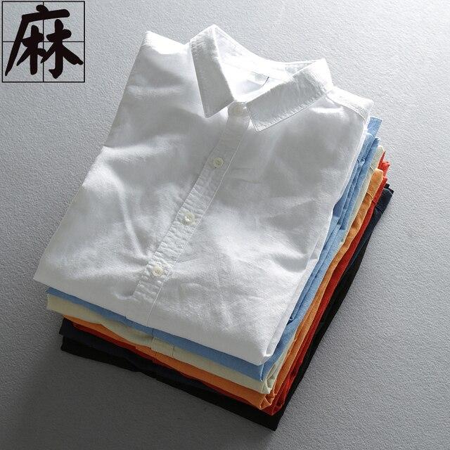 2016 весна и лето мужской свободного покроя льняная рубашка белого простой пункт коммерческий мужчины уменьшают подходящую жидкости с длинными рукавами одежды
