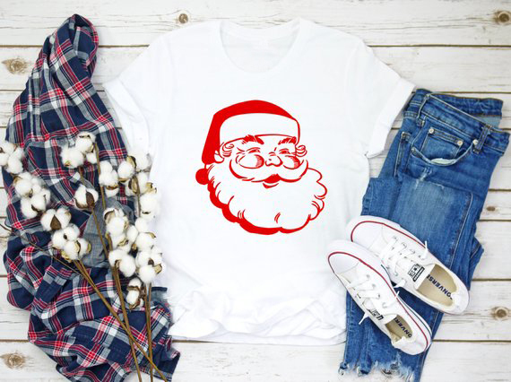 Vintage Santa Claus Holiday T-Shirt Casual Merrt Christmas Santa Red Black  Printed Tops Slogan 47acdff206c6