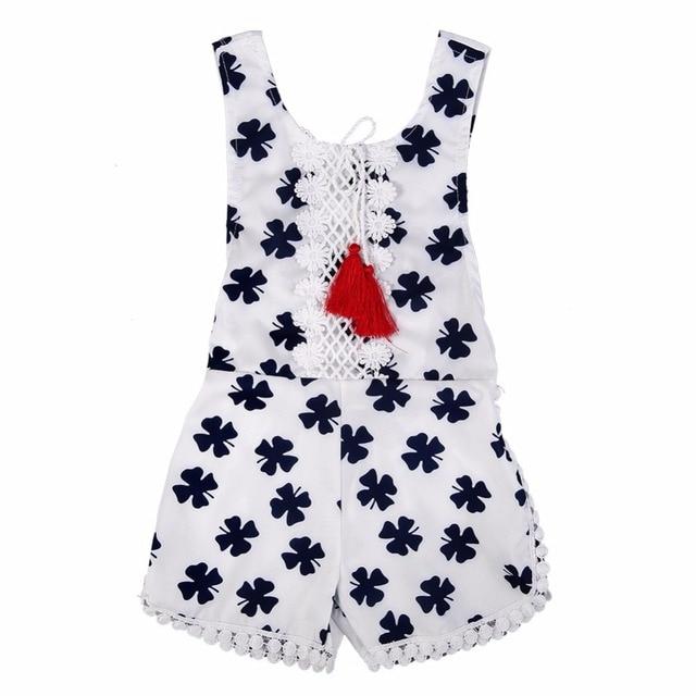 a695ac380fcf Summer Cute Newborn Baby Girls Lucky Grass Sleeveless Tassel Rompers  Backless Halter Jumpsuit Outfits Toddler Kids