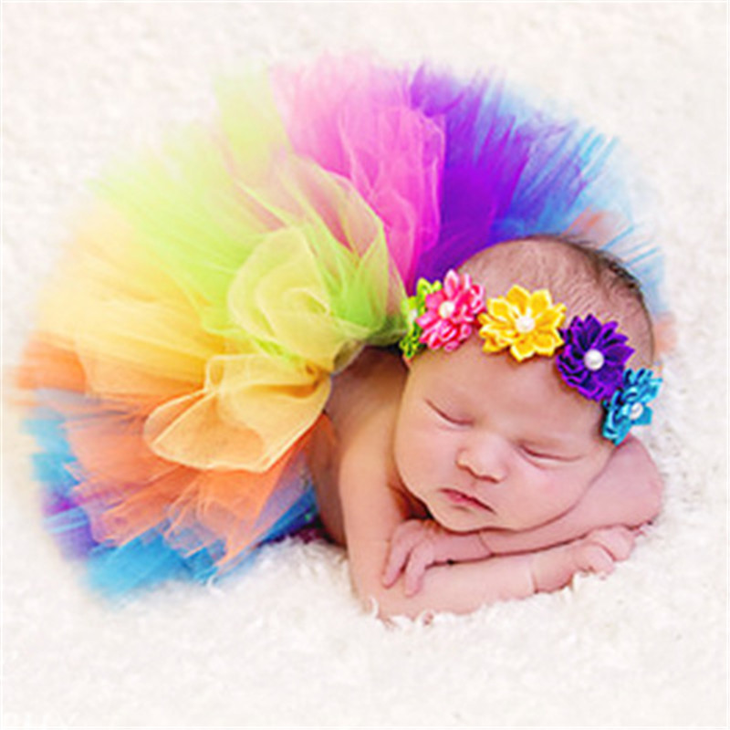 Baby Photography Props Infant Newborn Costume Tutu Dress Skirt Headband Peacock Handmade Crochet Beanie Beaded Cap 0-6M monochrome