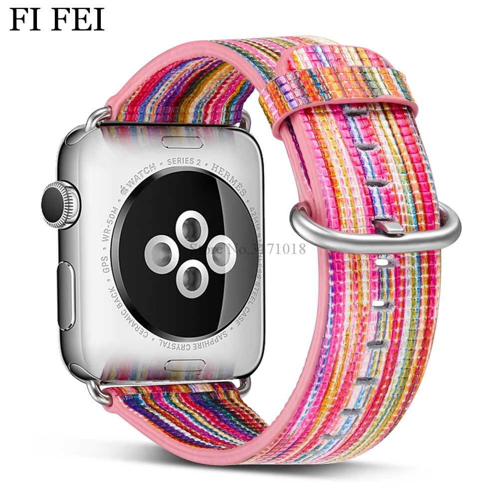 FI FEI New Leather band strap for apple watch 42mm 38mm bracelet wrist band watch watchband for apple strap series 3 2 1 luxury ladies watch strap for apple watch series 1 2 3 wrist band hand made by crystal bracelet for apple watch series iwatch