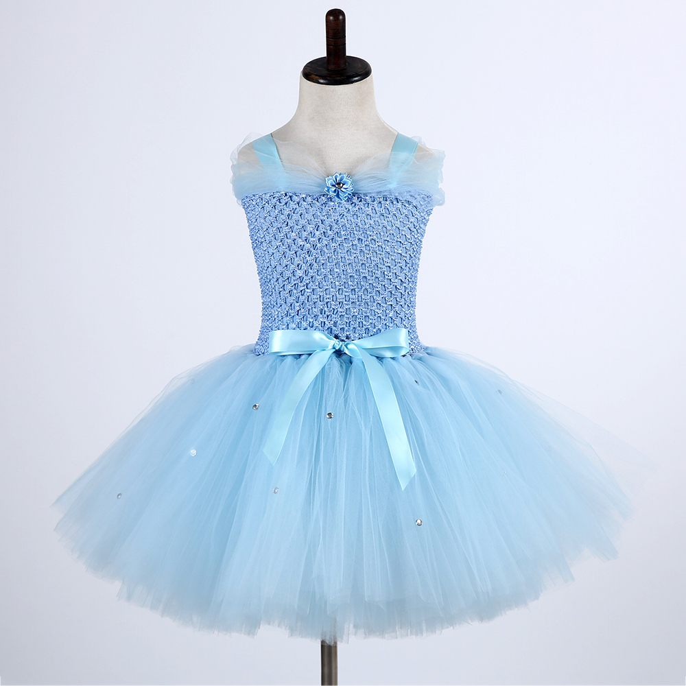 Cute Froze Child Princess Christmas Snow Queen Dresses Elza Costumes Girls Flower Pearls Party Tutu Dress (1)