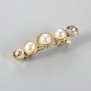 New Fashion Pearl Hair Clips for Women Elegant Rhinestone Barrettes Hairpin Metal Hairgrips Party Accessories 371