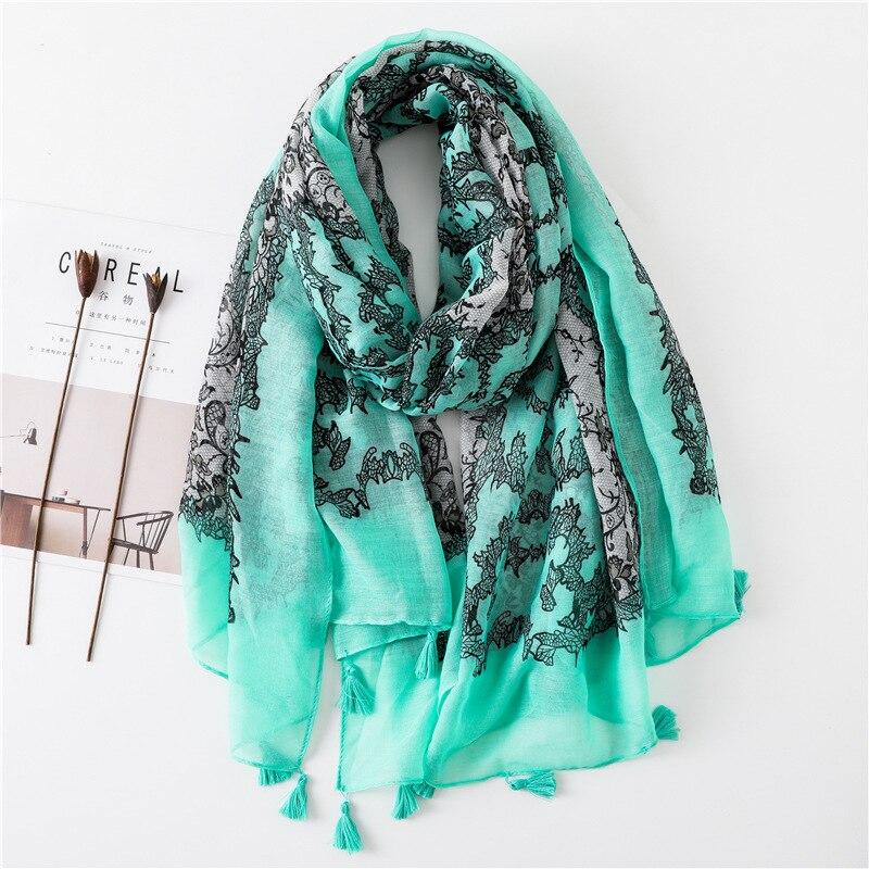 Women Spain Brand Tassels   scarf   Printe Floral Lace Viscose   Scarves     Wrap   Long Shawls Hijab Muslim Headband Foulard Sjaal 180*90Cm