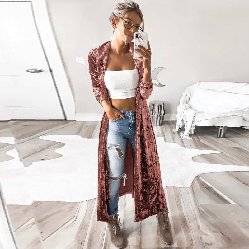 2018 Autumn Women Open Front Long Sleeve Velvet Coat Spring Lapel Neck Slim Windbreaker Sexy Party Maxi Long Jacket Cardigan