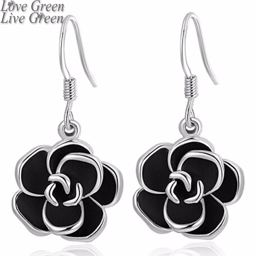 2017 hotsell brand Camellia design pendant fashion women gold color black painting rose flower drop earrings Jewelry 82606