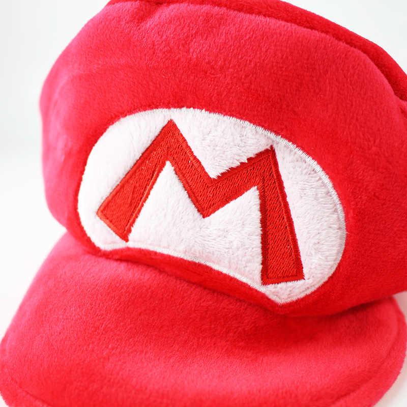 94bb28236a3 ... 25cm Super Mario Bros Plush Hat Cap Baseball Costume Game Toy Red mario  Green Luigi Soft ...