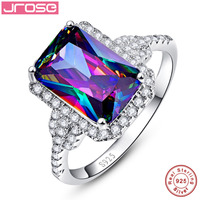 Jrose 6 85ct Emerald Rainbow Fire Mystic Topaz Ring Genuine 925 Sterling Silver Ring For Women