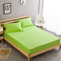 Customizable Green Solid Color Bed Sheets 100% Cotton Fitted Sheet Single Queen King Size Free Shipping