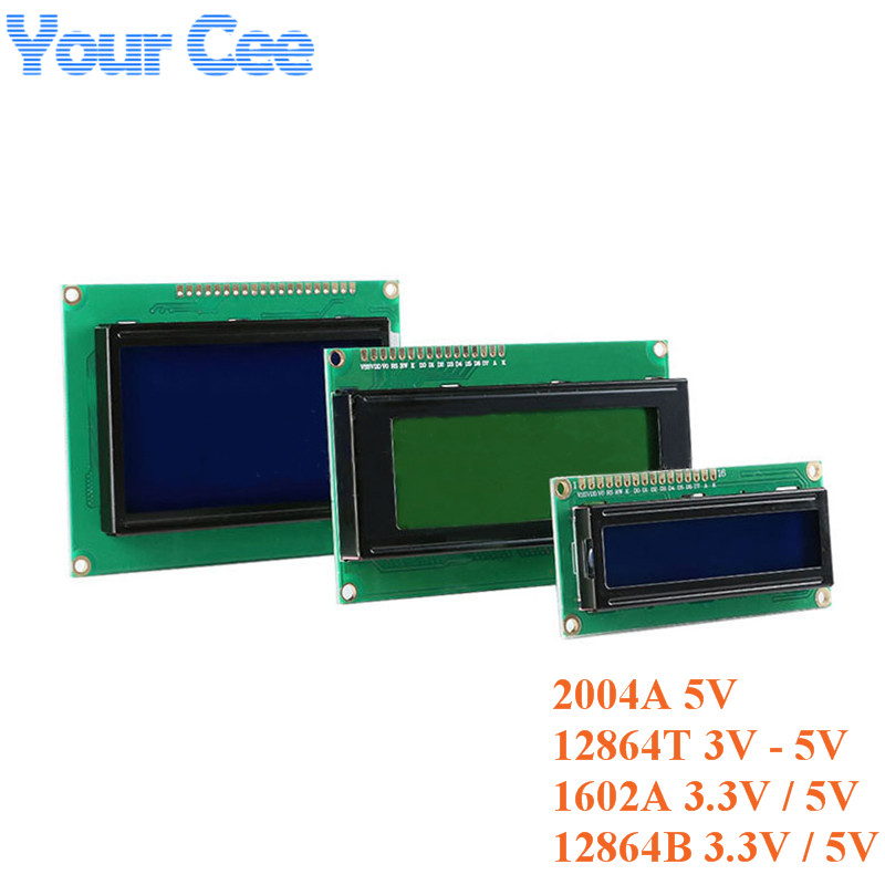LCD Module 1602 1602A J204A 2004A 12864 12864B LCD Display Module Blue Yellow-Green Screen Display IIC I2C 3.3V/5V For Arduino