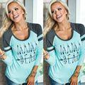 Vetement femme Женщины Дамы Повседневная С Длинным Рукавом Crewneck Рубашка МАМА Медведь Письмо Печати Свободные Топы Тенниска camisetas mujer 21