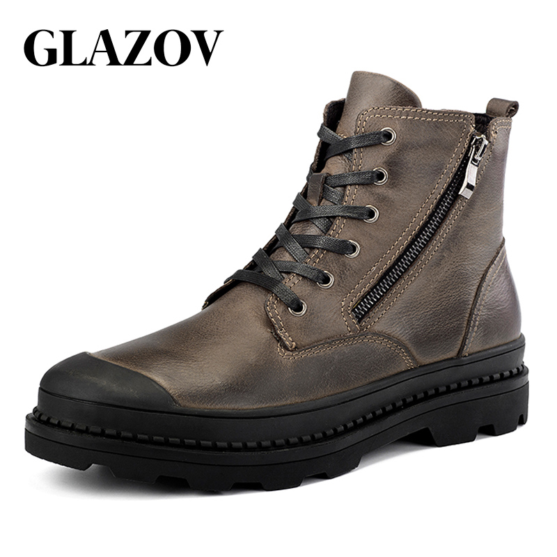 GLAZOV High Quality Genuine Leather Autumn Men Boots Winter Waterproof Ankle Boots Warm Boots Outdoor Working Boots Men Shoes