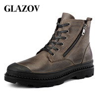 GLAZOV High Quality Genuine leather Autumn Men Boots Winter Waterproof Ankle Boots Martin Boots Outdoor Working Boots Men Shoes