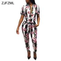 ZJFZML New 2018 brand high quality floral print two piece set women black white striped short sleeve top and full length pant