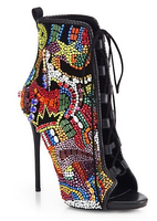 Real Photo Bling Bling Crystal Lace up Booties Sexy Open toe High Heel Sandal Boots Woman Ankle Boots Colorful Rhinestone Boots
