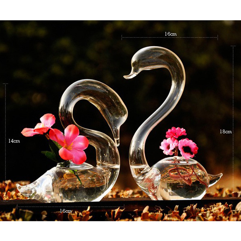 O.RoseLif Swan Flower Vase for Wedding Decoration,Home Decor Glass Vase Transparent Valentine's Gift