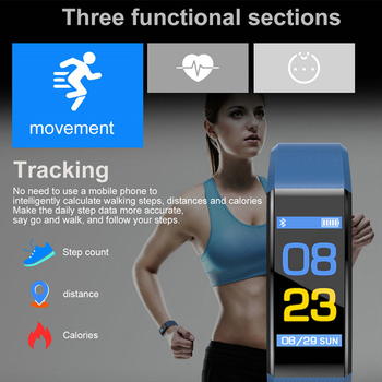 ID115 PLUS Color Screen Smart Bracelet Sports Pedometer Watch Fitness Running Walking Tracker Heart Rate Pedometer Smart Band 1